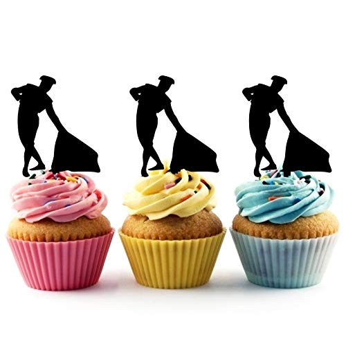 TA0763 Matador Spain Silhouette Party Wedding Birthday Acrylic Cupcake Toppers Decor 10 pcs ()