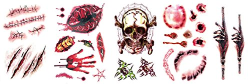AmDxD Temporary Tattoo Stickers,Bite Needle Wound Scars Skull Blood Palm Body Stickers for Women (Halloween Scary Tiger Face Paint)