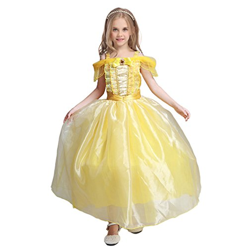 [JiaDuo Girls Princess Costume Halloween Party Long Dress Gown Yellow L1 120] (Tutu Halloween Costumes For Teenage Girls)
