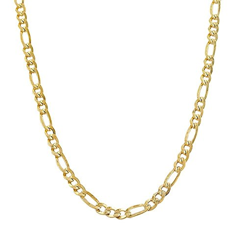 JewelStop 14k Solid Yellow Gold 4.5mm Figaro Anklet, Lobster Claw Clasp - 10