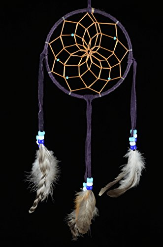 5 Inch Authentic Navajo Indian Made Dream Catcher with Glass Beads (Deep Purple)