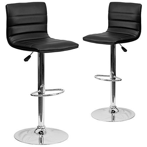 Flash Furniture 2 Pk. Contemporary Black Vinyl Adjustable Height Barstool with Chrome Base