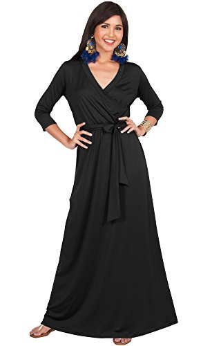 (KOH KOH Plus Size Womens Long 3/4 Half Sleeve Sleeves Flowy V-Neck Casual Fall Winter Empire Waist Evening Cute Full Floor-Length Gown Gowns Maxi Dress Dresses, Black 2XL 18-20)