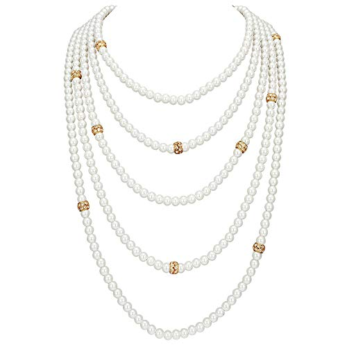 (BABEYOND Vintage 1920s Gatsby Imitation Pearl Choker Necklace 20s Art Deco Flapper Accessories for Women White (5-layer-2-Gold))
