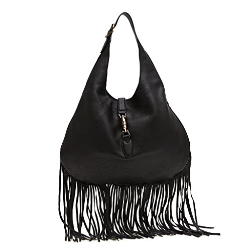 Gucci Nouveau Fringe Black Leather Hobo New Jackie Black Leather Handbag