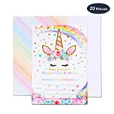 AMZTM Magical Unicorn Party Invitations with Envelopes for Kids Birthday Baby Shower Party Supplies 20 Pieces of Fill-in Blank Invitation Card Kit