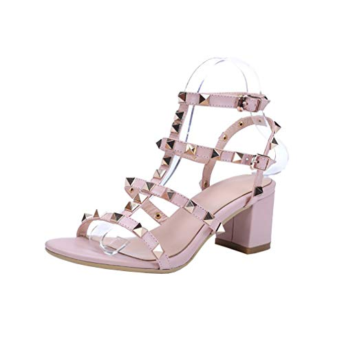 Valxrt 2 Vaneel Toe Women Heel Pink Sandals Block Round Buckle UK 7CM Shoes T5q1Ofwq