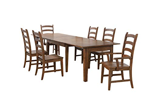 Sunset Trading DLU-BR134-AM7PC Simply Brook Dining Table Set Amish Brown