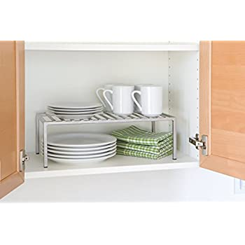Expandable Kitchen Counter And Cabinet Shelf, Grey