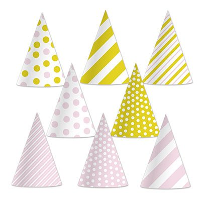Beistle 60032 Pink and Gold Cone Hats (24 Pack), 6.5, Pink/Gold/White -