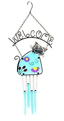 Bejeweled Display® Kitty Cat w/ Stained Glass Welcome Sign & Wind Chime Tubes