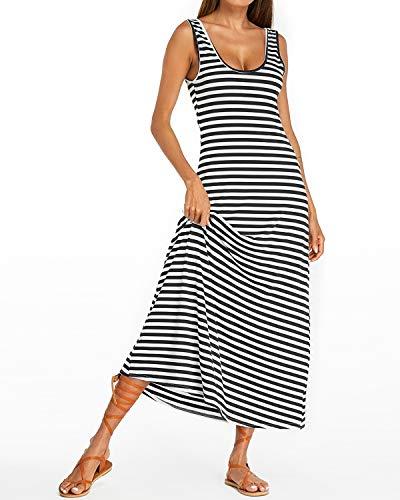 d60a6f3a877 Kidsform Women Maxi Dress Striped Long Dresses Casual Loose Kaftan  Oversized Round Neck Sundress