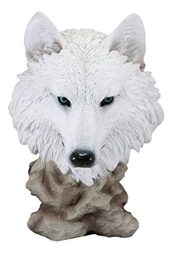 ShopForAllYou Figurines and Statues Large Snow White Wolf Head Bust Desk Plaque Statue 16.5