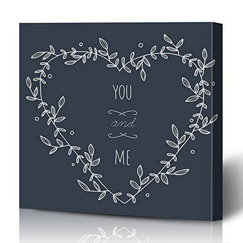 Ahawoso Canvas Prints Wall Art 12x16 Inches Frame Embellishment Hand Drawn Heartshaped Wreath On Greeting Heart Floral Border Anniversary Announcement Design Decor for Living Room Office Bedroom