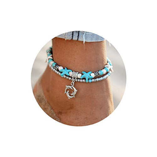 FINETOO Dolphin Blue Boho Starfish Beach Bracelet Anklet Beaded Anklet Shell Multi-Layer Anklets Jewelry Gifts for Girls