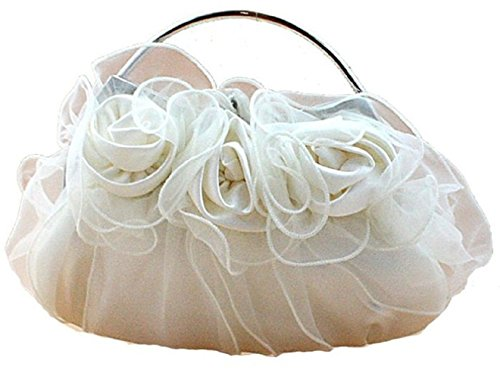 (Bettyhome Fairy Tale Princess Style 3D Roses Satin Tote Handbag Small Evening Purse Bridal Prom Clutch Gift (white))