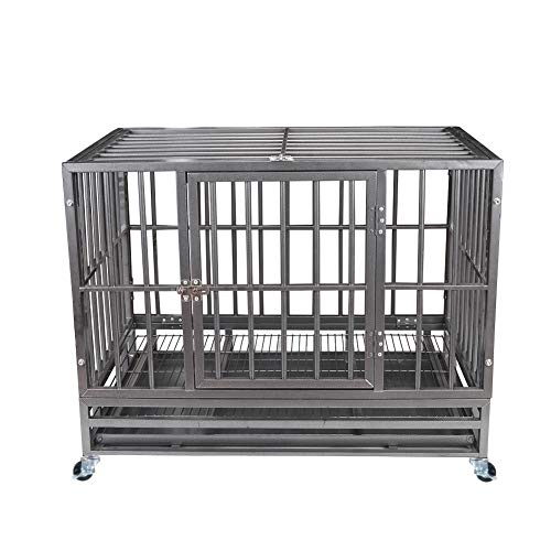 Heavy Duty Pet Dog Cage Strong Metal Crate Kennel Playpen w/Wheels&Tray (37'' Snow Gray)