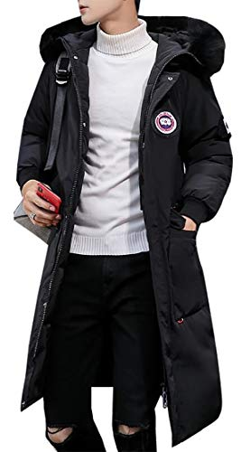 TTYLLMAO Winter Jacket Hood Thick Fashion Coat Long Black Jacket Fit Puffer Slim Men's with FwqrYEF