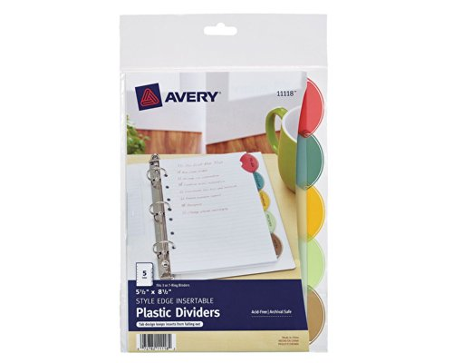 Avery Style Edge Insertable Plastic Dividers, 5.5 x 8.5 Inches, 5-Tab Set, 1 Set (11118)