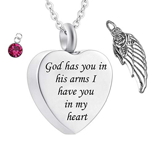 God has You in his arms with Angel Wing Charm Cremation Ashes Jewelry Keepsake Memorial Urn Necklace with Birthstone Crystal (October) -