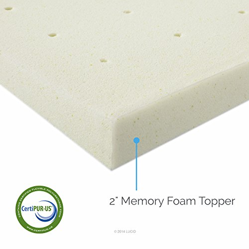 Lucid Linenspa 2 Inch Ventilated Memory Foam Mattress Topper, Queen
