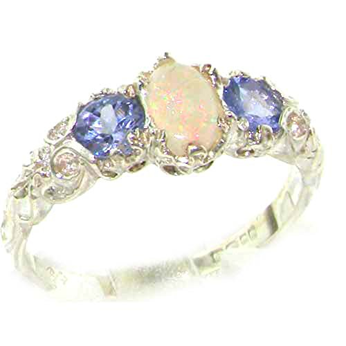 LetsBuyGold 10k White Gold Real Genuine Opal and Tanzanite Womens Band Ring