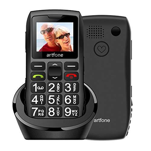 🥇 Artfone Teléfono Móvil para Personas Mayores Teclas Grandes con Pantalla de 1.77 Pulgadas Tecla de Emergencia Botón SOS Fácil de Usar para Ancianos