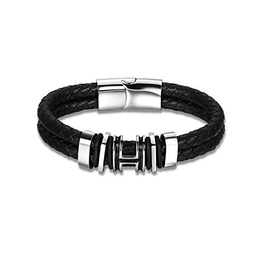 02555426d360 Lovely KNSAM - Pulsera de Mujer Cuero Pulsera de cuero ahuecada cilindro  negro para mujeres y
