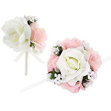 Amazon faybox wedding prom ivory pink silk flower wrist corsage faybox wedding prom ivory pink silk flower wrist corsage and boutonniere set pin ribbon included mightylinksfo