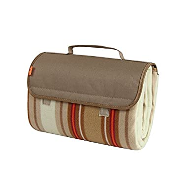 Yodo Soft Compact Water-Resistant Picnic Blanket Tote, Beige Stripe