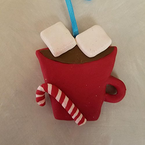 MUG of HOT COCOA with MARSHMALLOWS COUPLE CHRISTMAS ORNAMENT Hand Made Polymer Clay OOAK Can be personalized
