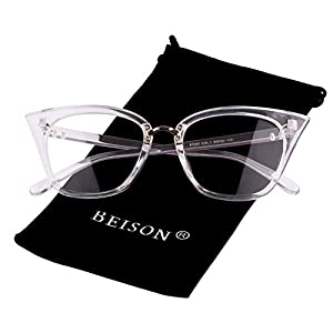 Beison Womens Cat Eye Mod Fashion Eyeglasses Frame Clear Lens (Transparent, 52)