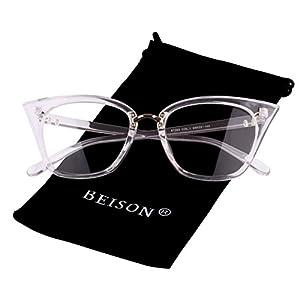 Beison Womens Cat Eye Mod Fashion Eyeglasses Frame Clear Lens (Transparent, 52)