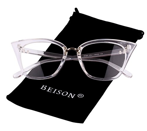Beison Womens Cat Eye Mod Fashion Eyeglasses Frame Clear Lens (Transparent, - Glass Frames Clear