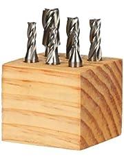 """HHIP 8000-0002 4 Flute High Speed Steel End Mill Set, 6 Piece, 3/8"""" Shank"""