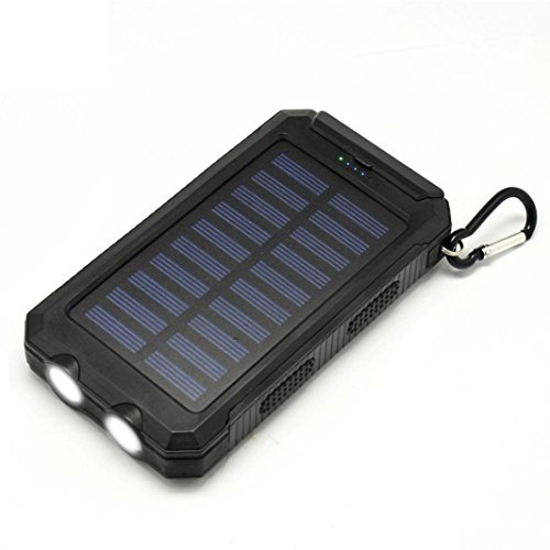 Creazy 10000mAh Dual USB Solar Energy Power Bank Battery DIY Box Case With LED Light (black)