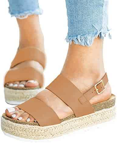 d343cbfba XMWEALTHY Women's Wedge Shoes Casual Platform Wedge Sandals Cute Open Toe  Espadrille Wedge Shoes for Summer