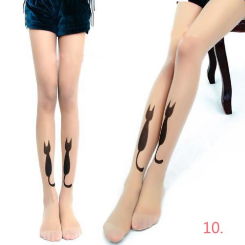 Zehui Sexy Womens Tattoo Sock Pantyhose Tights Silk Stocking Transparent Leggings Cat No.10 (Mustache Pantyhose)