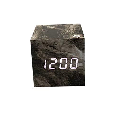 Florlife Cube Wood Led Alarm Clock Multifunction Practical Home Bedroom with Calendar Thermometer Wooden Digital Desk Clock - Black