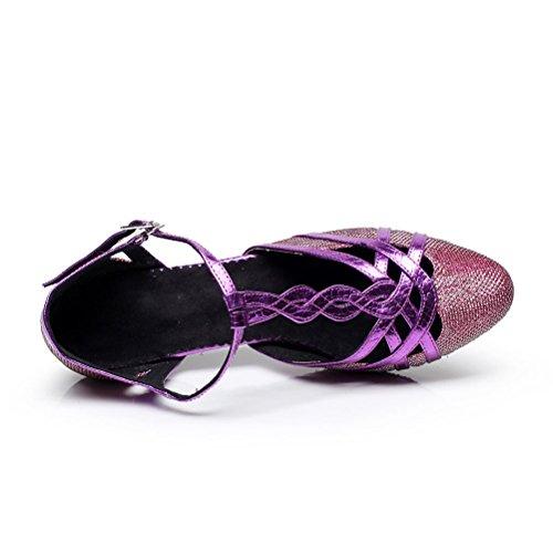 Bcln Mujeres Ballroom Dance Pumps Zapatos De Fiesta Con 2.75 Heel Purple