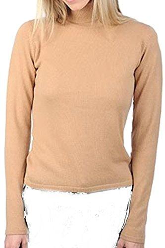 Balldiri 100% Cashmere Kaschmir Damen Pullover Rollkragen ohne Bündchen camel XL