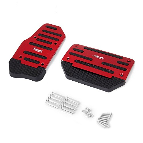 - 2pcs Universal Automatic Car Gas Brake Pedal Cover No Drilling Non slip Accelerator Brake Foot Rest Pedals Covers , Aluminium Alloy (red)