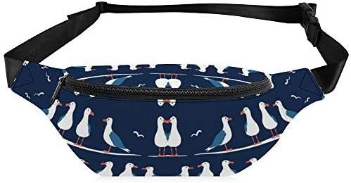 航海のカモメ ウエストバッグ ショルダーバッグチェストバッグ ヒップバッグ 多機能 防水 軽量 スポーツアウトドアクロスボディバッグユニセックスピクニック小旅行