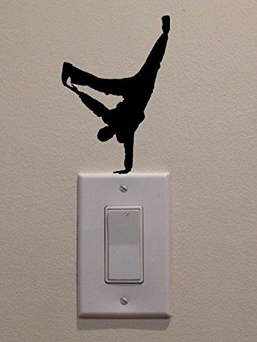 YINGKAIヒップホップダンサーOne Hand Cartwheel onライトスイッチデカールビニールデカール壁ステッカーアートリビングルームCarving壁デカールステッカー子供部屋ホームウィンドウ装飾   B019P1HV0Q