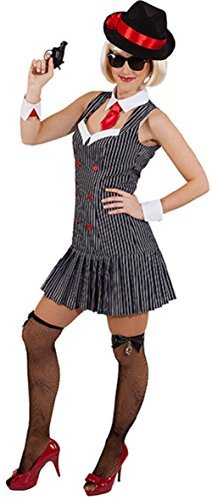 Ladies Sexy 20s 1920s Gangsters Gangstas Moll Mafia Boss Soprano Hen Do Night Party TV Book Film Fancy Dress Costume Outfit (UK 10 (EU 38)) ()