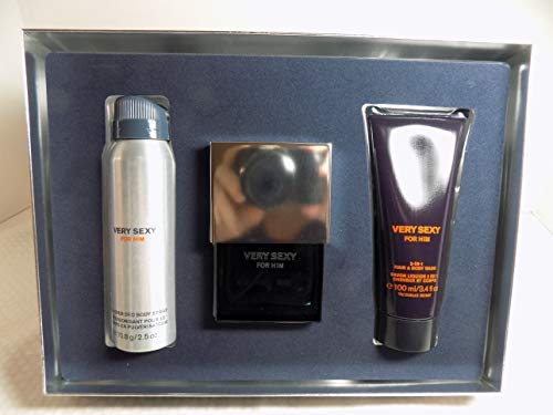 Body Him - Victoria Secret Very Sexy For Him Gift Set, 3.4 oz All Over Deod Body Spray, 1.7 oz Cologne, 3.4 oz 2-in-1 Hair and Body Wash