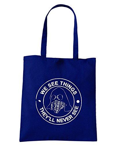 T-Shirtshock - Bolsa para la compra TUM0125 we see things hooligans Azul Marino