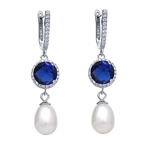 Gem Stone King 5.79 Ct Round Blue Simulated Sapphire 925 Sterling Silver Earrings ()