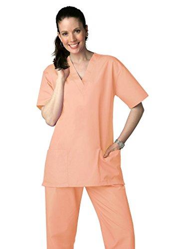 - Adar Uniforms Unisex V-Neckline Drawstring Pants Scrub Set - Roomy fit - 701 - Peach - XS