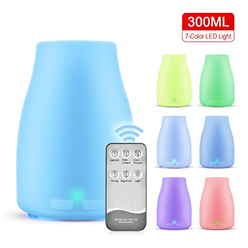 300ml Essential Oil Diffusers, HFAN Aromatherapy Remote Air Diffusers Humidifiers with 7 Colorful LED Lights, Adjustable Mist Mode, BPA-Free, Waterless Auto Shut-Off for Home,Yoga,Office,Spa,Bedroom